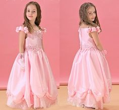 Fairy Tale Pink Princess Off The Shoulder Wedding Flower Girls Party Dresses Hand Made Flower Lace Long Little Girls Pageant Gowns HC from Engerlaa,$92.49 | DHgate.com