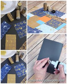 Create a DIY stamp set using wine corks and puffy paint. These little wine cork stamps are simple enough for kids to make and so fun to print with! These wine cork stamps are a fun way to create an easy DIY stamp set that can be managed by … Puffy Paint, Cork Crafts, Paper Crafts, Stencil, Homemade Stamps, Make Your Own Stamp, Fabric Stamping, Stamp Making, Tampons