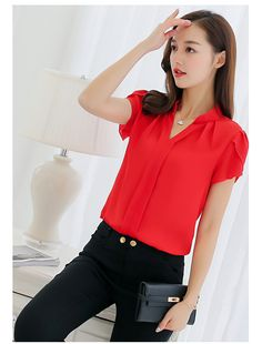b097b8bb7 US $10.33 15% OFF|Aliexpress.com : Buy 2018 Summer Women Formal Office  Vogue Short Sleeve Plus Size T shirt Solid Color V Neck None Broadcloth  Solid ...