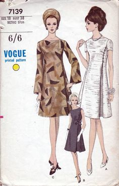 60s Vogue cocktail dress sewing patterns 7139, bell sleeves, short sleeves or sleeveless. Bust 38 inches. One-Piece Dress. High fitted a-line dress