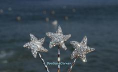 Starfish Bridal Hair Clips( Set of 3) - Bridal Hair Accessory - Bridal Headpiece - Rhinestone Bobby Pins - Beach Wedding Hair Piece
