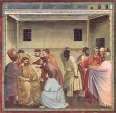The Mocking of Christ, c.1305 (fresco), Giotto di Bondone (c.1266-1337) / Scrovegni (Arena) Chapel, Padua, Italy