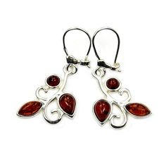 Natural Baltic Amber & .925 Sterling Silver Dangle Earrings Polish Amber from Poland AA697 by TheSilverPlaza on Etsy https://www.etsy.com/listing/386226676/natural-baltic-amber-925-sterling-silver