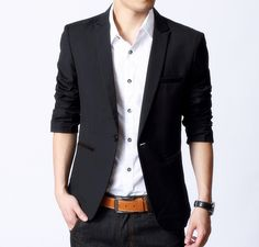 Men's Slim Fit Blazer with PU Leather Details