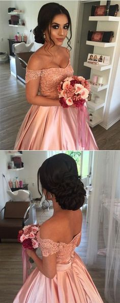 pink off shoulder prom party dresses with beaded, elegant ball gowns for sweet 16 prom, quinceanera dresses. prom party hairstyle.