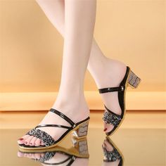 Buy, Square High Heel Open Toe Elegant Women Summer Shoes are available at 4colordress.com! Now, $24.99 & Free Shipping. #Square #High #Heel #Open #Toe #Summer #Women #Shoes Womens Summer Shoes, Rubber Material, Elegant Woman, Pu Leather, Open Toe, High Heels, Stylish, Fashion, High Heels Mules