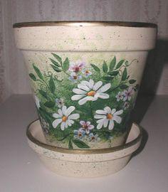 clay pots,yard and garden,handpainted,