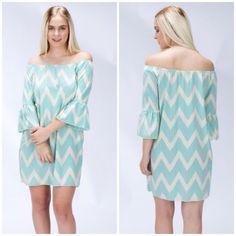 S A L E Mint Chevron Dot Dress