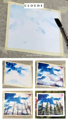 Mini cloud painting tutorial with step by step process photos. Mini cloud painting tutorial with step by step process photos. Watercolour Tutorials, Watercolor Techniques, Art Techniques, Painting & Drawing, Watercolor Paintings, Artist Painting, Painting Videos, Painting Clouds, Art Paintings