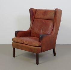 Vintage fauteuil leer cognac veel patine Deens