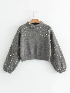 Lantern Sleeve Faux Pearl Crop Sweater