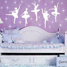 Ballet Dance Ballerinas Stars Custom Vinyl Wall Decals Saying Quote Art Stickers Nursery Kids Girls. $20.99, via Etsy.