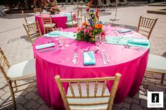 Fuschia Wedding, Gold Chiavari Chairs.  Tropical poolside wedding.  Tampa Westshore Marriott