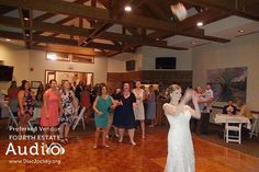 """Melissa tossed her bouquet as the Spice Girls' """"Wannabe"""" played. http://www.discjockey.org/real-chicago-wedding-sept-3-2016/"""