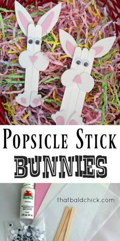 Have a hoppin fun time and make these cute Popsicle Stick Bunnies! Directions at thatbaldchick.com via @thatbaldchick