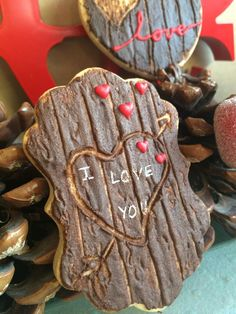 Wood Cookies- should try this with chocolate dipped cookies - I love you Brian. Cookies Cupcake, Galletas Cookies, Fancy Cookies, Iced Cookies, Cute Cookies, Royal Icing Cookies, Cookies Et Biscuits, Sugar Cookies, Fondant Cookies