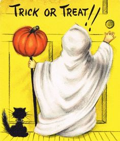Trick or treat!!! #vintage #Halloween #cards #ghost_costume