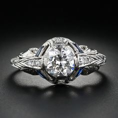 One-Carat Diamond Art Deco Engagement Ring - 10-1-4325 - Lang Antiques