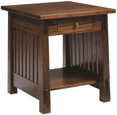 Our Amish artisans craft each Lake Meade End Table with Drawer to your hardwood and finish specifications. Design your modern Mission side table today.