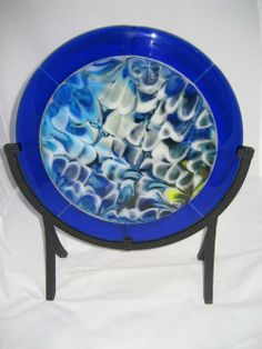 Blue Cloud Pot Melt - by Glassmelts by Jeff and Marnie Brookins. Slumped Glass, Fused Glass Art, Stained Glass, Delphi Glass, Bee Creative, Blue Clouds, Artist Gallery, Glass Design, Shades Of Blue