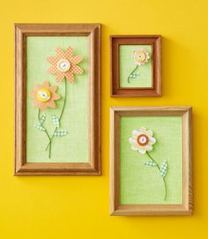 Make flowers with scrap paper & extra buttons, which can turn into colorful wall art.