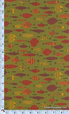 mid century modern fish fabric