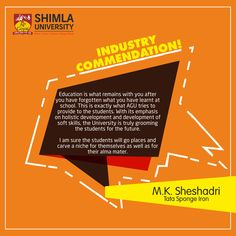 Industry recognizes the efforts of Shimla University to impart quality education and inculcate employability skills among the students. Here are some words of appreciation by Industry Experts who have visited University campus and experienced the world class learning environment.  Explore more at http://bit.ly/2sFCz1Z or call at +91-9816222000, 18004198654 (Toll Free).