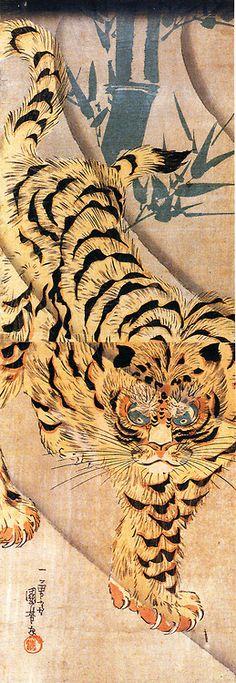 drawpaintprint: Utagawa Kuniyoshi: painting of a tiger walking...