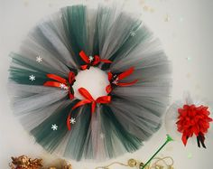 Baby Green/Grey Tutu~ Baby Red Headband~ Christmas baby girl outfit~ newborn tutu &headband~ tulle skirt~ baby tutu skirt~ red bows~ toddler
