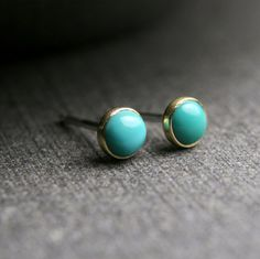 4mm untreated turquoise and 18k yellow gold bezel set stud earrings on Etsy, $84.00