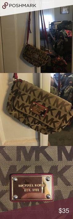 d7f984164b Michael Kors crossbody purse Tan MK crossbody bag with pink strap Michael  Kors Bags Crossbody Bags