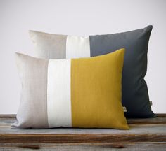 This beautiful set includes (1) 12x16 color block pillow cover in mustard yellow, cream and natural linen and (1) 16x20 color block pillow cover in charcoal gray, cream and natural linen. This signature set will make the perfect accent on a chair, sofa, window seat or bed. They would also make a perfect housewarming gift too! Original design by artist and interior designer, Jillian Carmine. ----------------------------------------------------------------------------------------------- For…