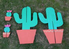 DIY Cactus Cardboard Cutout Plant Stand Quick and easy party decor www.sjwonderlandz.com
