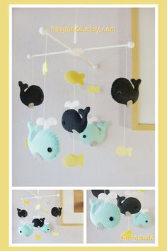 Whale Mobile - Baby Mobile - Nursery Crib Mobile - Felt Fish Mobile - Navy Blue and Turquoise Whale family Mobile (You can pick your colors)...