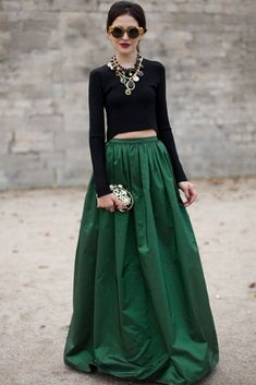 How to style my emerald green maxi skirt