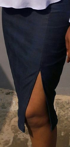 A left side slitted classy jean skirt by Novel Couture