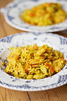 Scampi met rijst in curryroomsaus