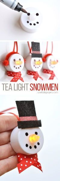 "These tea light snowman ornaments are really easy to make and they look ADORABLE! Turn on the tea light and the ""flame"" becomes the snowman's carrot nose! The last time I checked on Ebay, each would cost 1$."