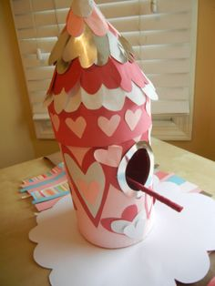 homemade valentine box + birdhouse -