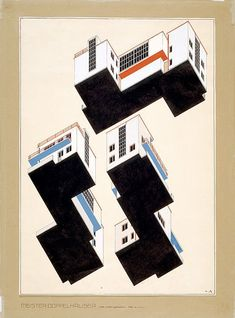 'Modell Bauhaus'  Alfred Arndt, colour plans for the exterior design of the Bauhaus 'Meister' semi-detached houses in Dessau, 1926.