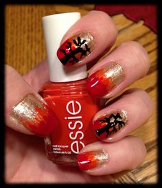 Fall nail design. #bergersbeautyandnails #nailart