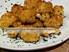Parmesan Dijon Roasted Cauliflower  http://peaceloveandlowcarb.blogspot.com/2013/05/parmesan-dijon-roasted-cauliflower.html
