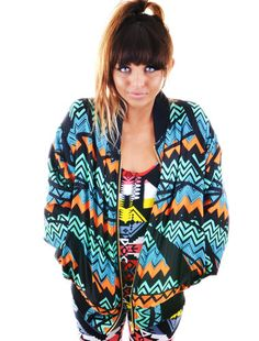 Rowen Falls Mountain Aztec Tribal 80s Retro Inspired Zigzag Print Bomber Jacket | eBay