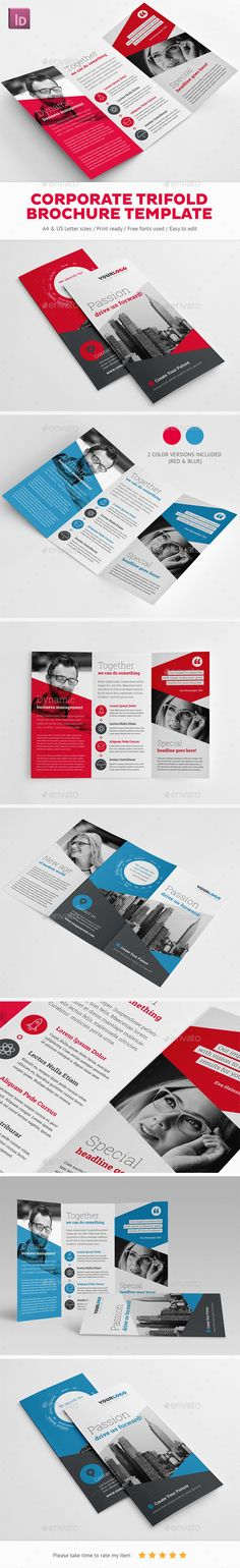 Corporate Trifold Brochure Template  #indesign #indd #logo #us letter • Download ➝ https://graphicriver.net/item/corporate-trifold-brochure-template/18710143?ref=pxcr