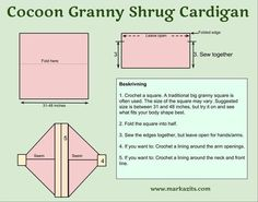cocoon granny shrug cardigan kofta pattern diagram crochet: