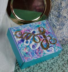 "Decorated Box, ""Le Printemps"" 9.25"" x 10.25"" x 3.25"" Hand Painted Cardboard Box with Gold Leaf by RValentiFineArt on Etsy"