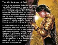 Help us to stand and fight this spiritual battle that wages over our very souls..our peace, our mind, our hearts, our lives.. In Jesus' mighty Name..Amen.