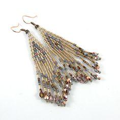 Beduin  Dangle ethnic style bugle bead earrings  by Taurieldesign