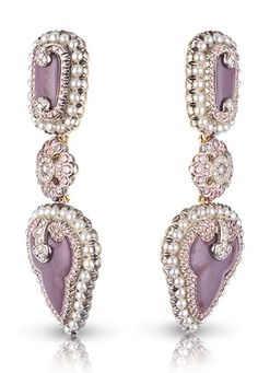 Faberge earrings with lilac jasper and pearls. #finejewelry #stoneandstrandloves #inspiration