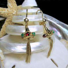 14k Chinese Lantern Tassel Leverback Earrings 4.70g - pinned by pin4etsy.com